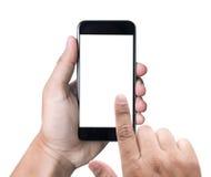 拿着有白色屏幕的被隔绝的男性手一个电话 免版税库存照片