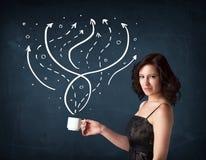 拿着有线和箭头的女实业家一个白色杯子 免版税图库摄影