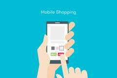 拿着有网上流动商店的手智能手机 平的传染媒介概念性例证 免版税库存图片