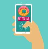 拿着有购买的手智能手机网上 backgraund互联网膝上型计算机购物白色 平的设计 10 eps例证盾向量 库存照片
