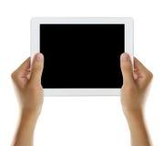 拿着有黑屏幕的2片剂 免版税库存图片