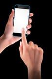 拿着有黑屏的手黑智能手机 库存照片