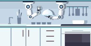 拿着服务的盘子的巧妙的得心应手的厨师机器人准备食物机器人辅助创新技术人为 库存例证