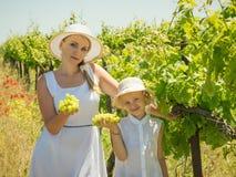 拿着束在领域的成熟葡萄的母亲和女儿 免版税库存图片