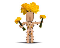 拿着束黄水仙的Boxman 免版税库存图片