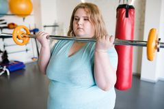 拿着杠铃的肥胖妇女 库存图片