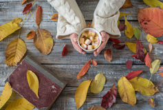 拿着杯子热巧克力的妇女 在木tabl的热巧克力 库存照片