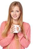 拿着杯子的妇女 免版税库存照片
