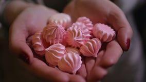 拿着极少数好的鲜美甜点的妇女,在糖果店的可口点心 股票视频