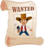 拿着枪的一位被要的牛仔在海报 免版税库存照片