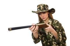 拿着枪的军服的女孩被隔绝在白色 免版税库存图片