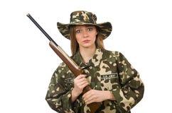 拿着枪的军服的女孩被隔绝在白色 免版税库存照片