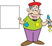 拿着标志的动画片艺术家 免版税库存照片
