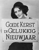 拿着标志的妇女被写在匈牙利语(所有人被描述不更长生存,并且庄园不存在 供应商保单tha 库存照片