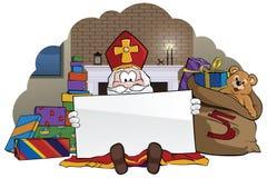 拿着标志的Sinterklaas 免版税库存照片