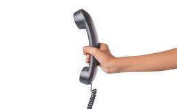 拿着桌面电话机II 图库摄影