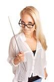 拿着棍子的性感的学院讲师 图库摄影
