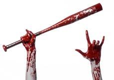 拿着棒球棒,一个血淋淋的棒球棒,棒,流血运动,凶手,蛇神,万圣夜题材,被隔绝的,白色bac的血淋淋的手 免版税库存照片