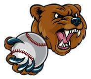 拿着棒球球的熊 向量例证