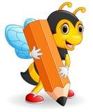 拿着棕色铅笔的蜂动画片 免版税库存图片
