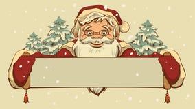 拿着横幅的圣诞老人 免版税库存照片