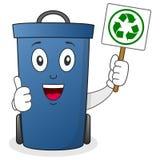 拿着横幅的垃圾箱或废物箱 库存图片