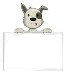 拿着横幅的狗 免版税库存图片