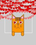 拿着横幅的逗人喜爱的猫 概念亲吻妇女的爱人 与小猫的贺卡 为婚姻,生日或者情人节设计元素 皇族释放例证
