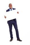 拿着横幅的非洲生意人 库存图片