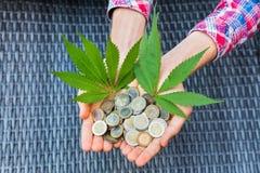 拿着欧洲硬币和大麻叶子的手 免版税库存照片