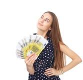 拿着欧洲金钱的妇女 图库摄影