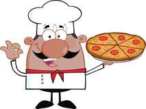 拿着比萨饼的非裔美国人的厨师漫画人物 图库摄影