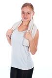 拿着毛巾的好女孩 免版税库存图片