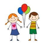 拿着气球的孩子 库存图片