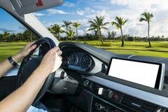 拿着汽车方向盘的男性手 在驾车的方向盘的手在棕榈附近调遣 驾驶在客舱里面的人一辆汽车 免版税库存照片