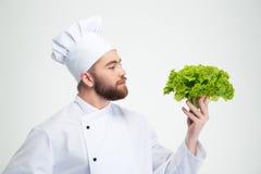 拿着沙拉的一位英俊的男性厨师厨师的画象 免版税库存图片