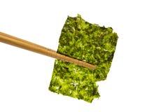 拿着油煎的海草的板料在白色背景的筷子 免版税库存照片