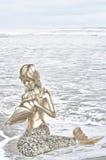 拿着海壳的金黄美人鱼 免版税图库摄影