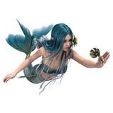 拿着海百合的蓝色美人鱼 图库摄影
