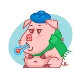 拿着温度计的猪字符 免版税图库摄影