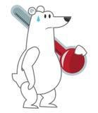 拿着温度计象的北极熊 向量例证