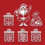 拿着激光切口和礼物的圣诞老人项目圣诞礼物 invitation new year 向量例证