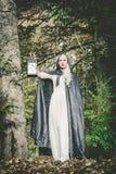 拿着灯笼的神奇16世纪妇女 图库摄影