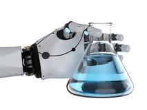 拿着烧杯的机器人手 皇族释放例证