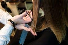 拿着热的热量剪刀的美发师切开长的直发特写镜头锁  免版税库存图片