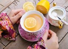 拿着热的茶的妇女 库存照片