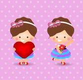 拿着爱和花的动画片女孩 图库摄影