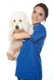 拿着狗的兽医 图库摄影