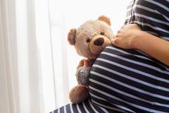 拿着玩具熊玩具的孕妇 免版税库存图片