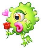 拿着玫瑰的一个女性妖怪 免版税库存图片